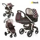 Бебешка  Комбинирана количка 3в1 MALIBU ALL IN ONE - Dots Black - HAUCK